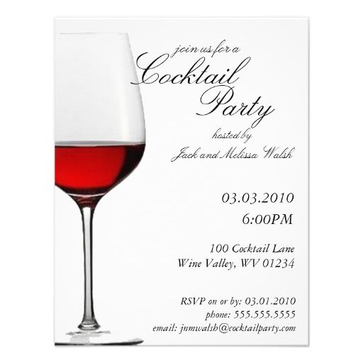 Red Red Wine Cocktail Wine Party Invitations Cocktail Party - Cocktail party invitation template