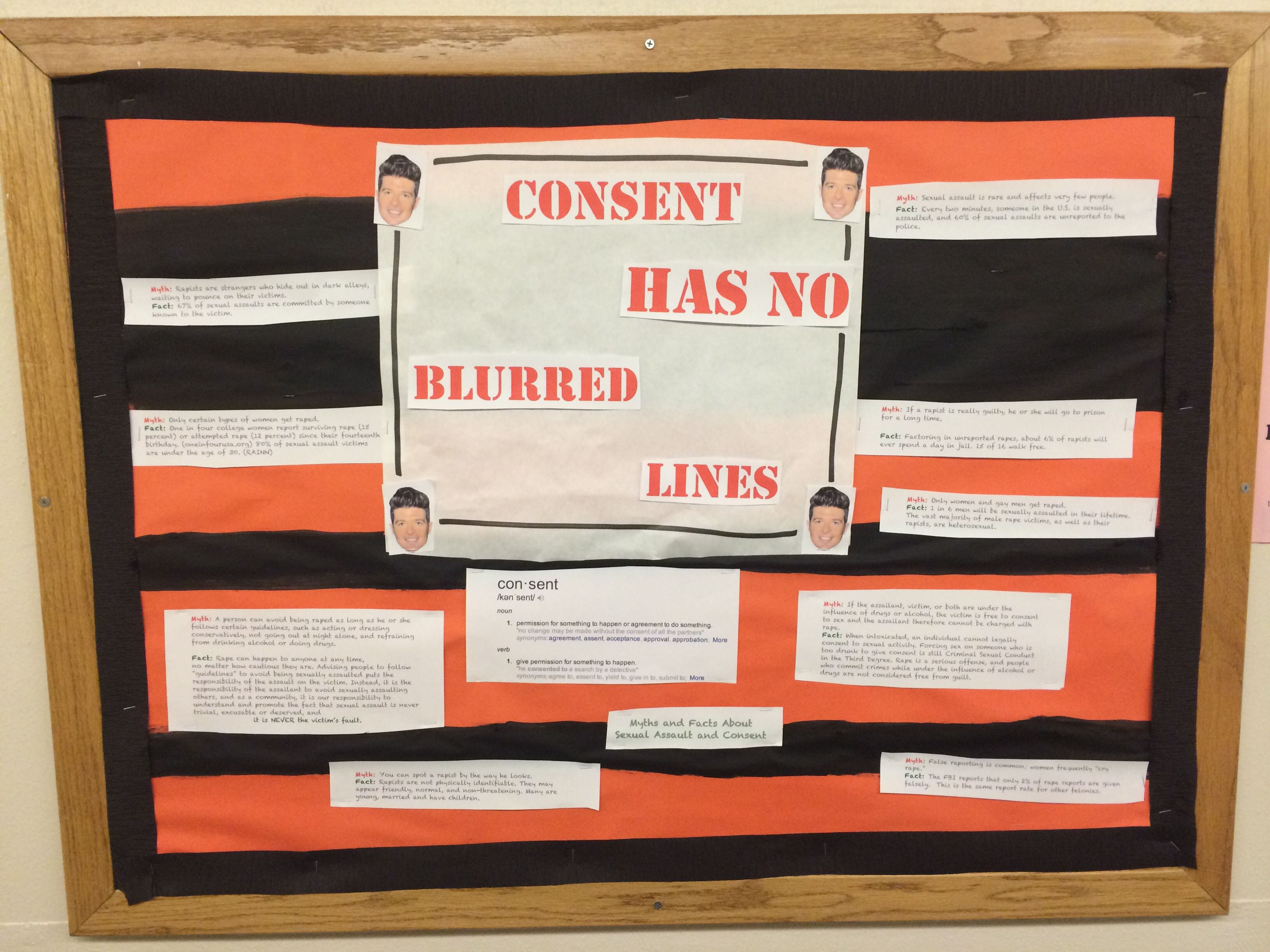 Consent has no blurred lines. A bulletin board about sexual assault and  consent myths and