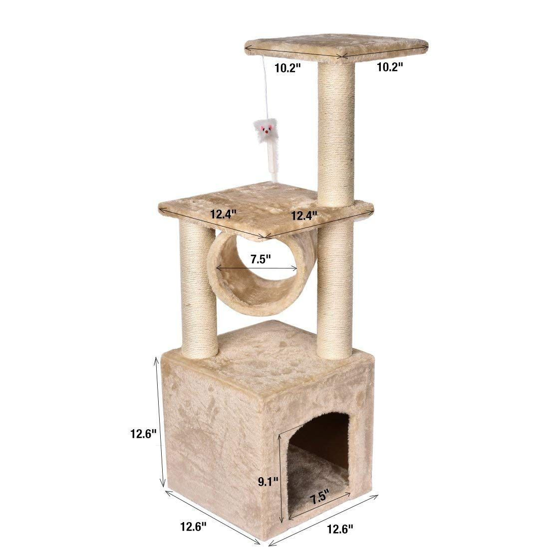 Luluxi 36 Deluxe Cat Tree Level Condo Furniture Scratcher Scratching Post Kitten Pet Play Toy House Upgrade Stability Cat Tree Scratching Post Toy House