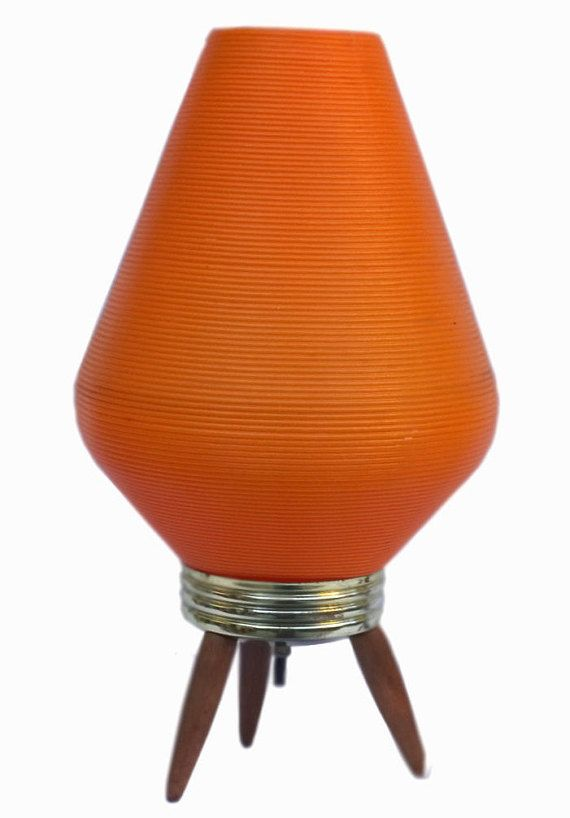 Atomic // Vintage // Retro Lamp // Orange Plastic // Beehive Shade //  Tri-Pod Teak Base