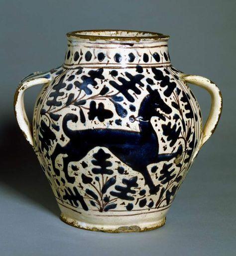Maso and Miniato di Domenico (workshop), Giunta di Tugio (workshop) tin-glazed earthenware two-handled jar  Museum Accession Number: C.75-1961