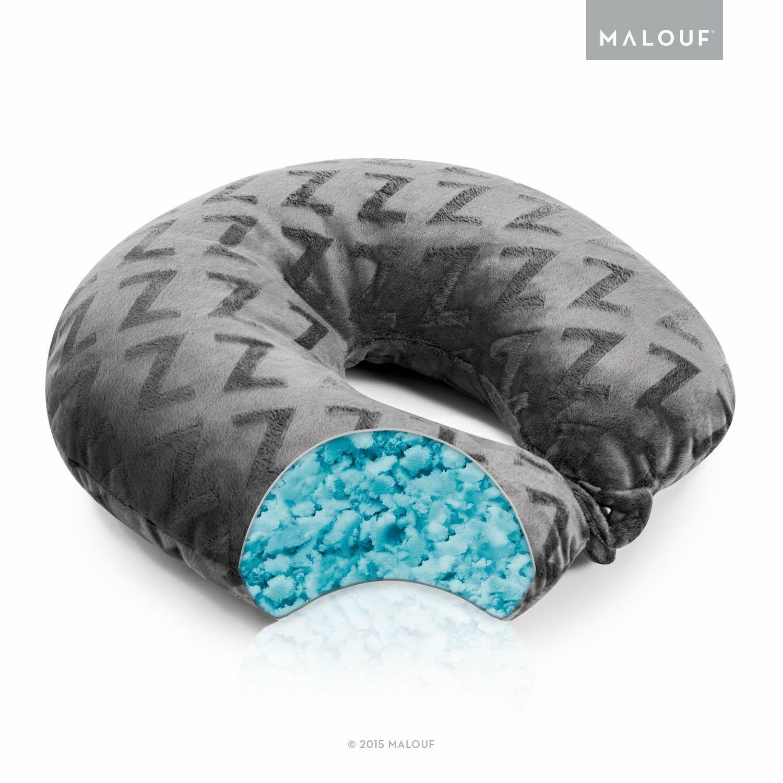 Malouf Z Shredded Cooling Gel Memory Foam Travel Neck Pillow By