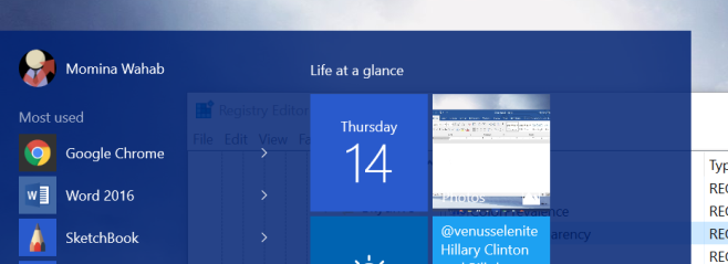 Increase The Start Menu & Taskbar Transparency In Windows