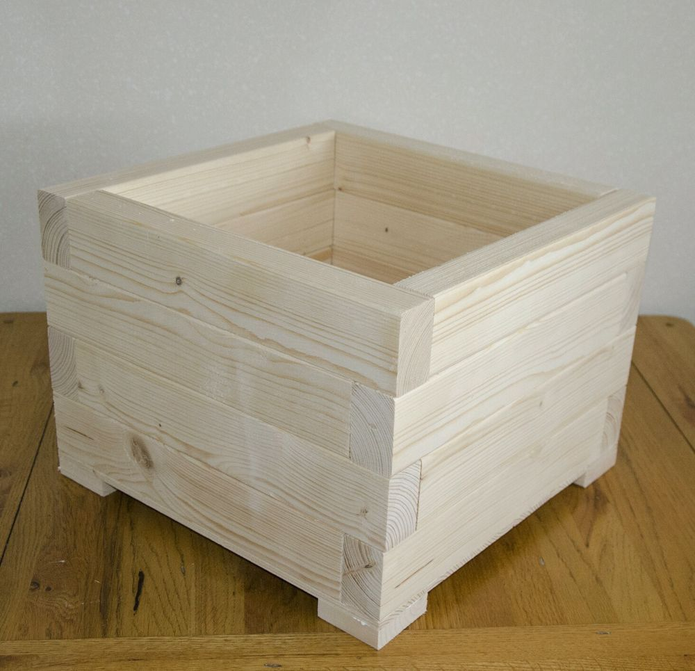 Large Square Wooden Wood Garden Plant Flower Herbs Basket Pot Planters Box  | EBay