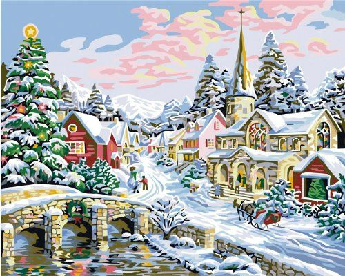 Diy Oil Painting Paint By Number Kit Merry Christmas 16