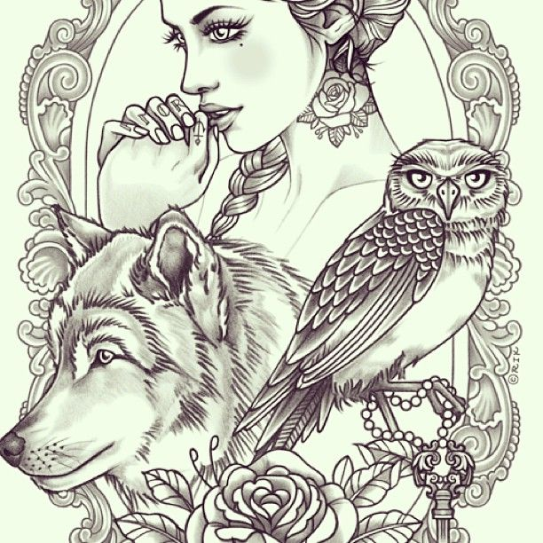 b5d361413 Rik Lee - Seriously considering this on my back. Definitely worth the pain.  Lady to represent my inner goddess, wolf to represent family.