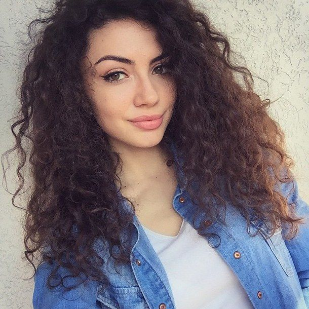 beauty blue brunette curls