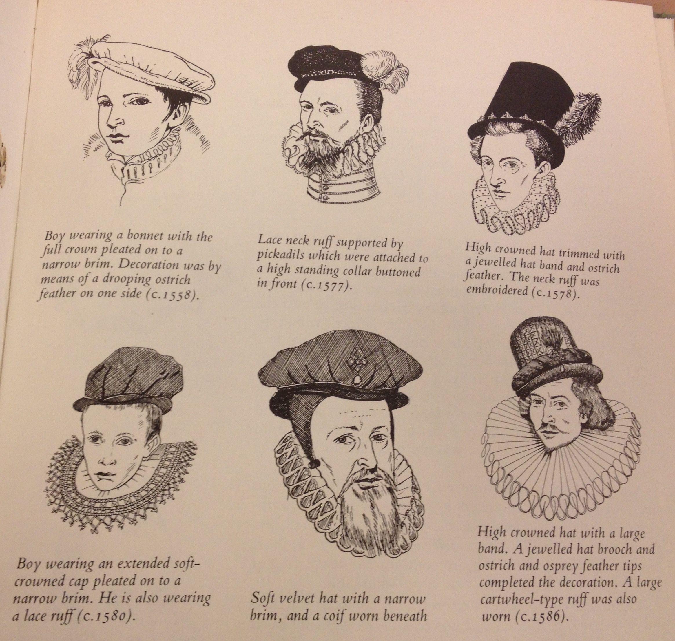 c7e1e649ea0 various Elizabethan hats for men  see caption(s)