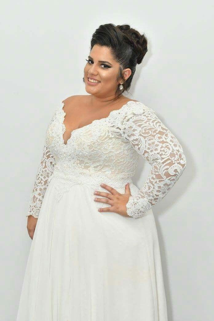 real plus size bride in Prada lace plus size wedding gown with a ...