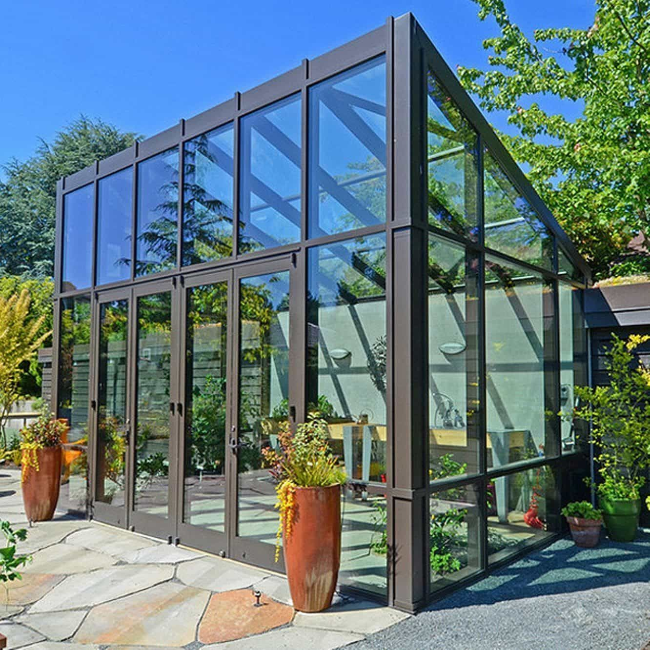 Modern Greenhouse With Glass Walls And Roof Popular