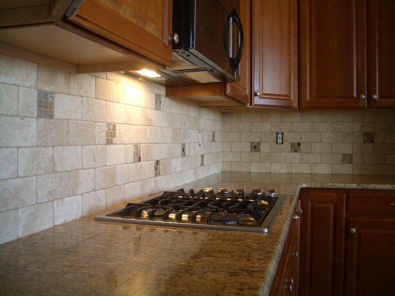 travertine and glass kitchen tile backsplash | konyha | pinterest