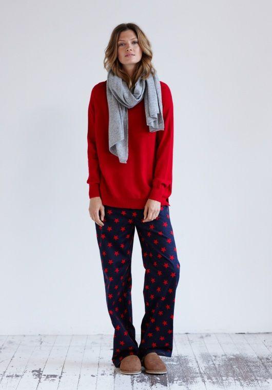 e12251ed57158 Big Star Print Pyjama Trousers in Dark Navy Racing Red from hush ...