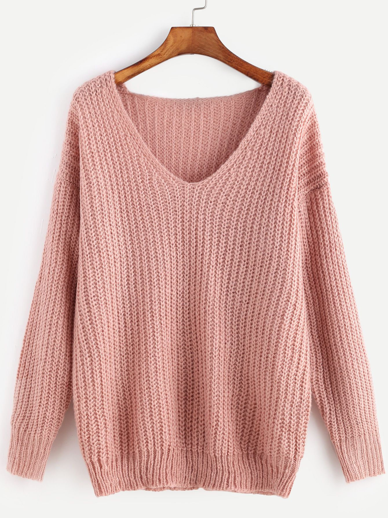 Pink Ribbed Knit V Neck Drop Shoulder Sweater | Shoulder, Drop and ...
