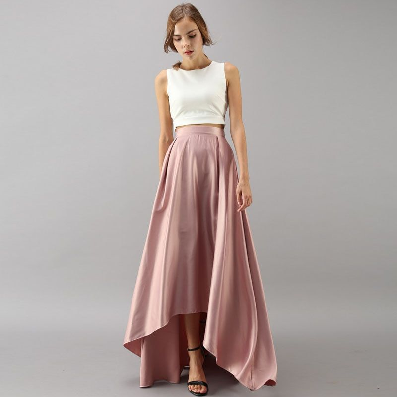 Elegant High Low Long Skirt High Waist Satin Blush Pink Pleated Lo…