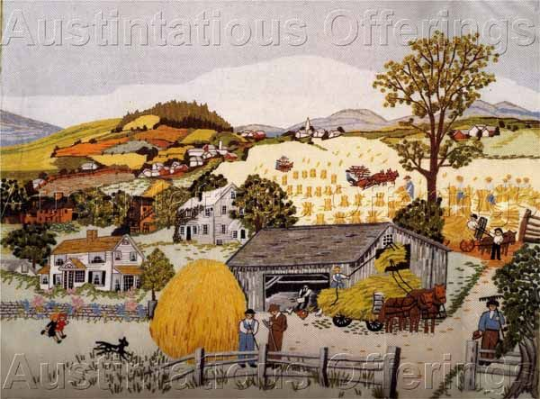 Grandma Moses Artwork Golden Harvest Day Crewel Embroidery Kit