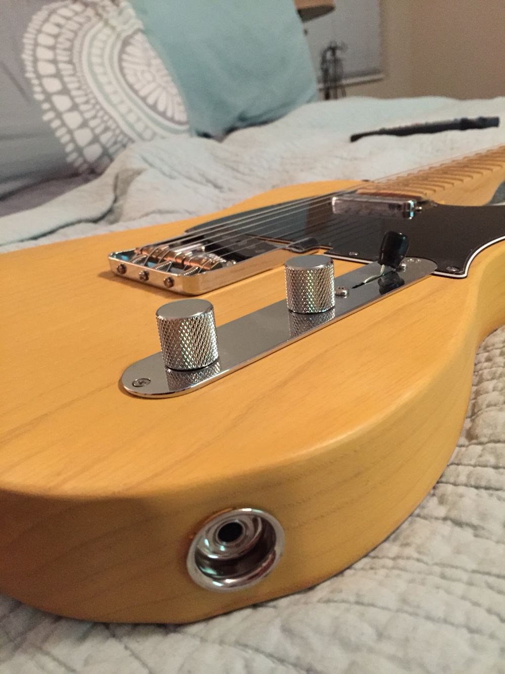 Partscaster Tele Ash Body Nitro Butterscotch Blonde Vintage Guitar Input Barrel Jack Wiring Fender Maple Neck