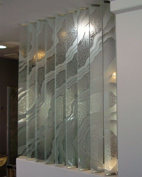 Abstract Etched Glass Doors Decorative Glass Partitions