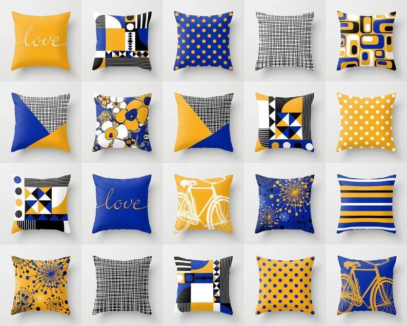 yellow royal blue throw pillow