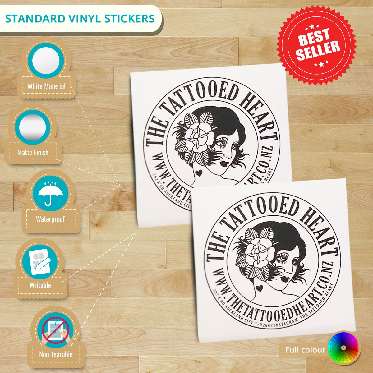 Infographic featuring standard vinyl stickers discover more details with our vinyl stickers from here