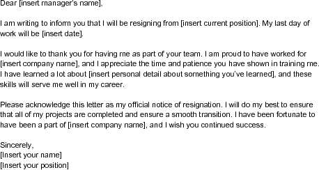 Sample Letter Of Resignation Template  Wikihow  Things I Love