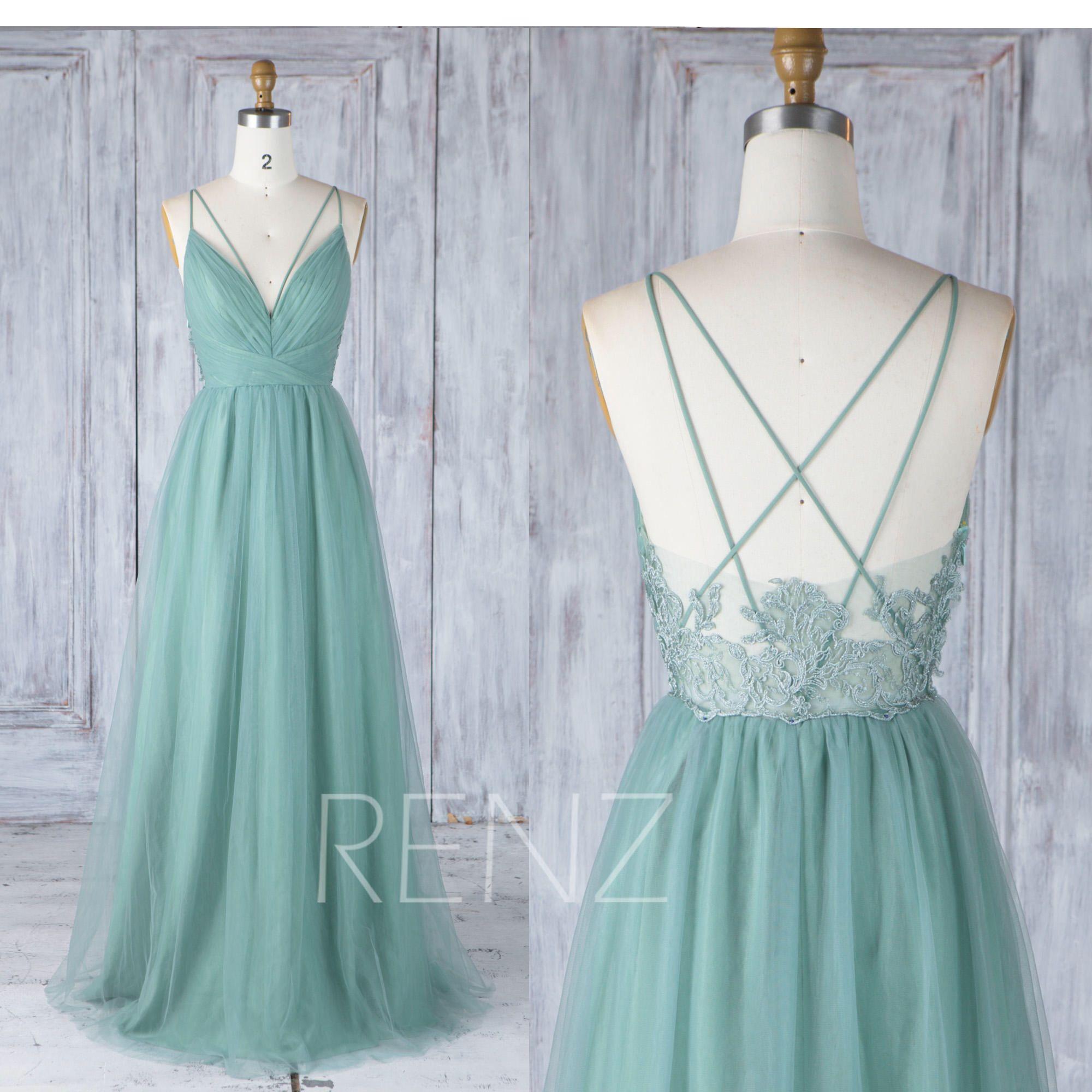 Bridesmaid Dress Dusty Green Tulle Wedding Dress,Criss Cross Straps ...