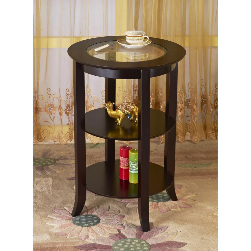 Homecraft Furniture Espresso Glass Top End Table Dark Cherry