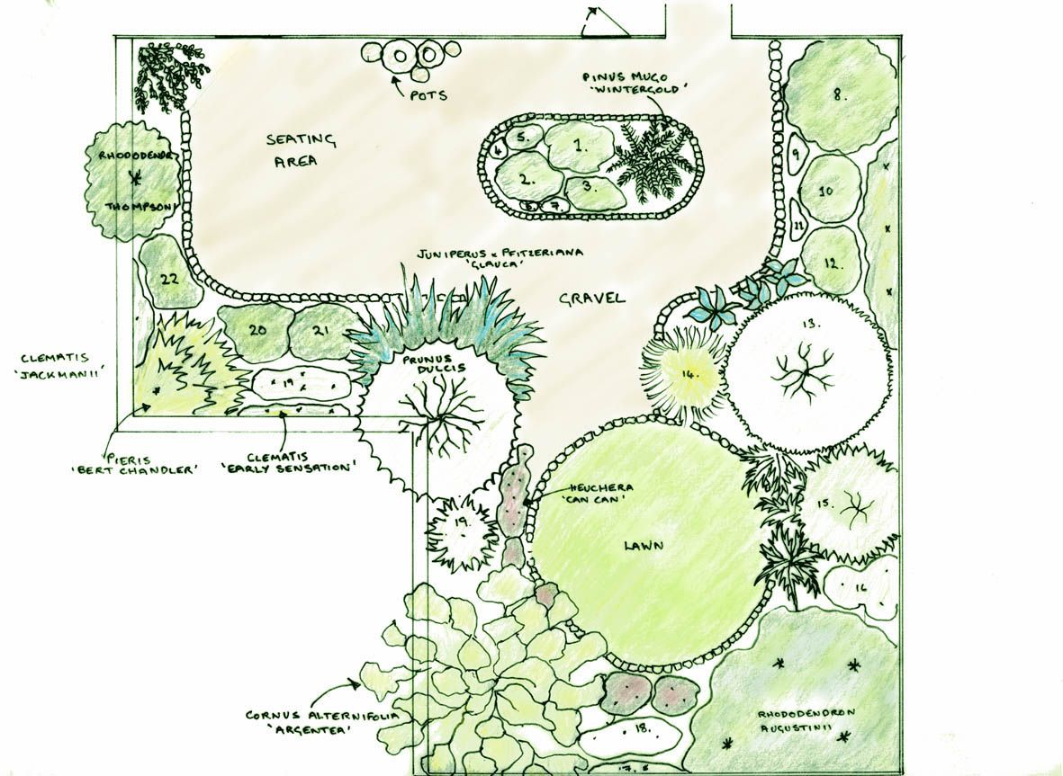 Garden Design Drawing In