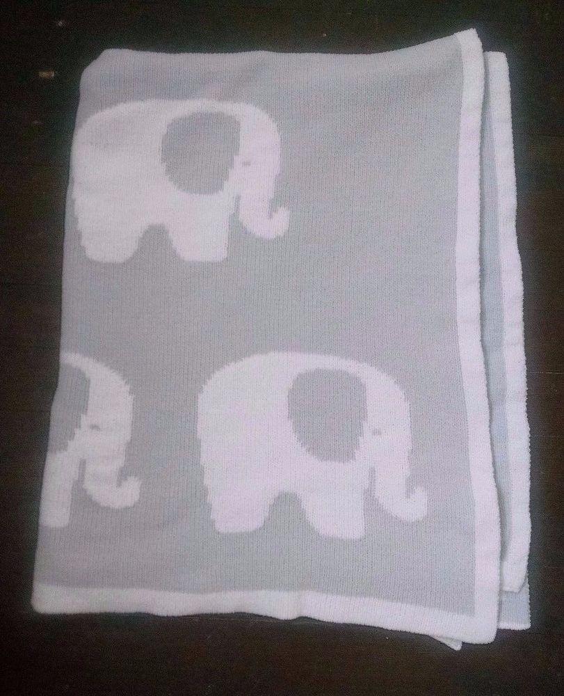 1ce3533f2 Nordstrom Baby Blanket Gray Soft Chenille Elephants Reversible Unisex 44x33  #Nordstrom