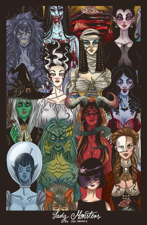 Lady Monsters Horror Art Halloween Art Classic Monsters