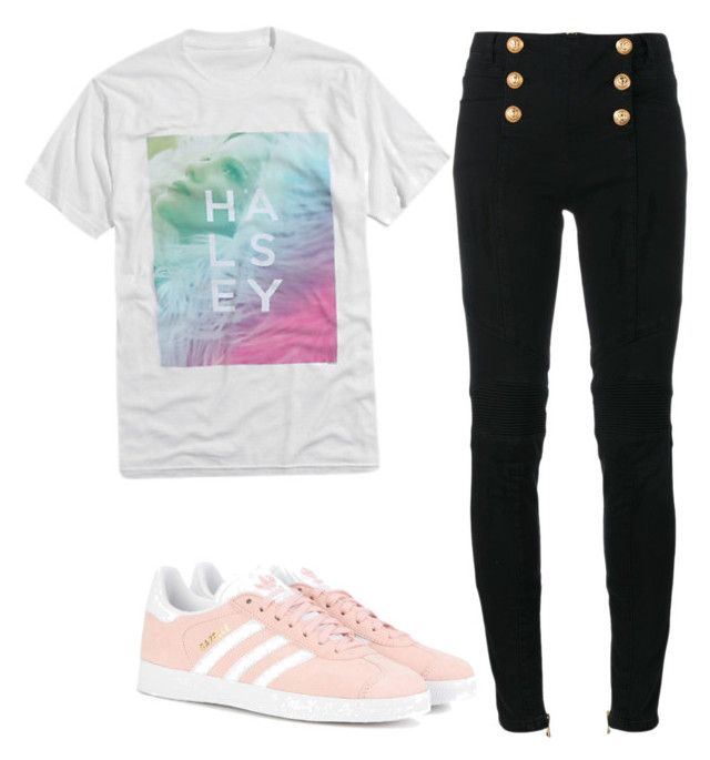 """""""Ripped at every edge, but you're a masterpiece..."""" by short-stop ❤ liked on Polyvore featuring Balmain and adidas Originals"""