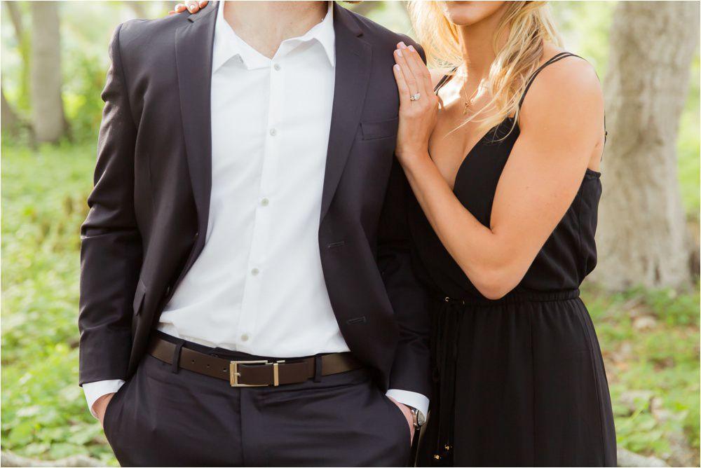 a black suit and a black dress