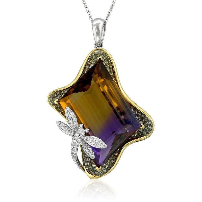 Dragonfly 18k two tone gold pendant featuring 36.84 carat ametrine, accented with 2.82 carats of ideal cut diamonds. (Price for mounting only)