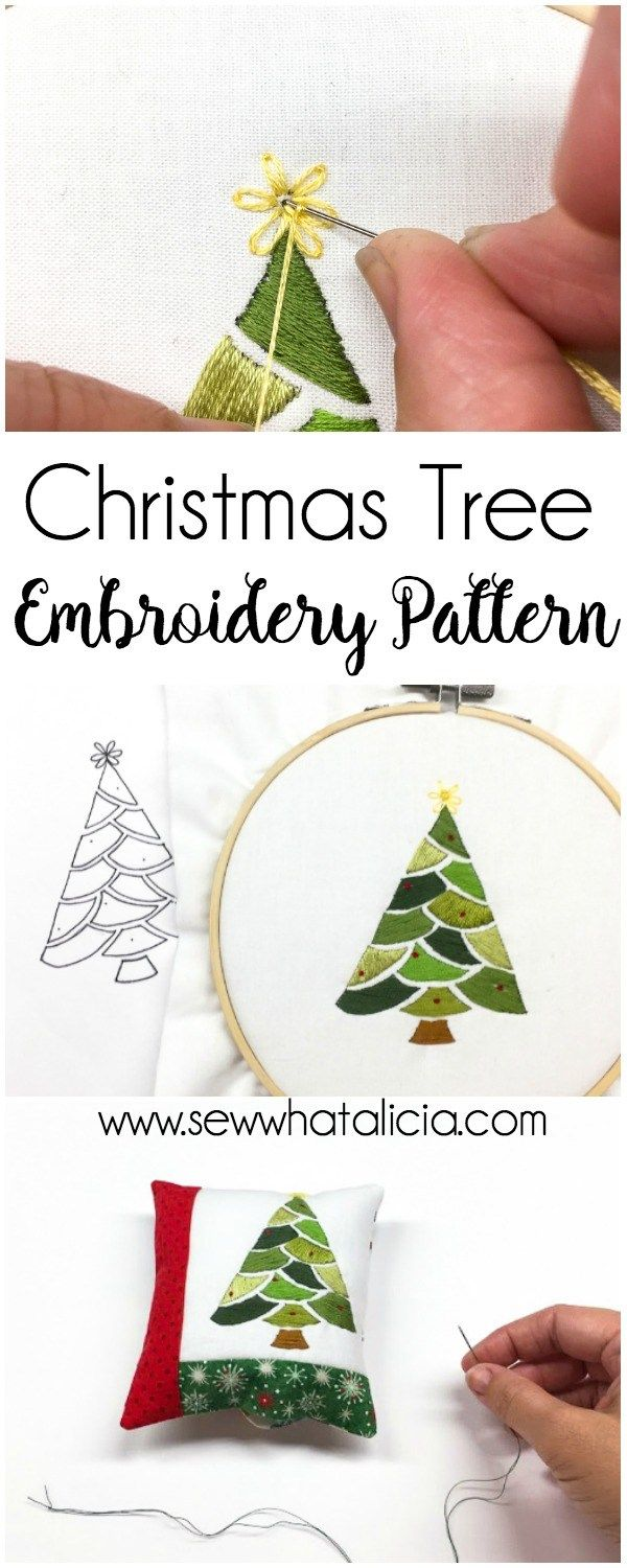 Embroidered Christmas Tree Pattern And Tutorial Christmas Embroidery Patterns Christmas Embroidery Ribbon Embroidery Kit