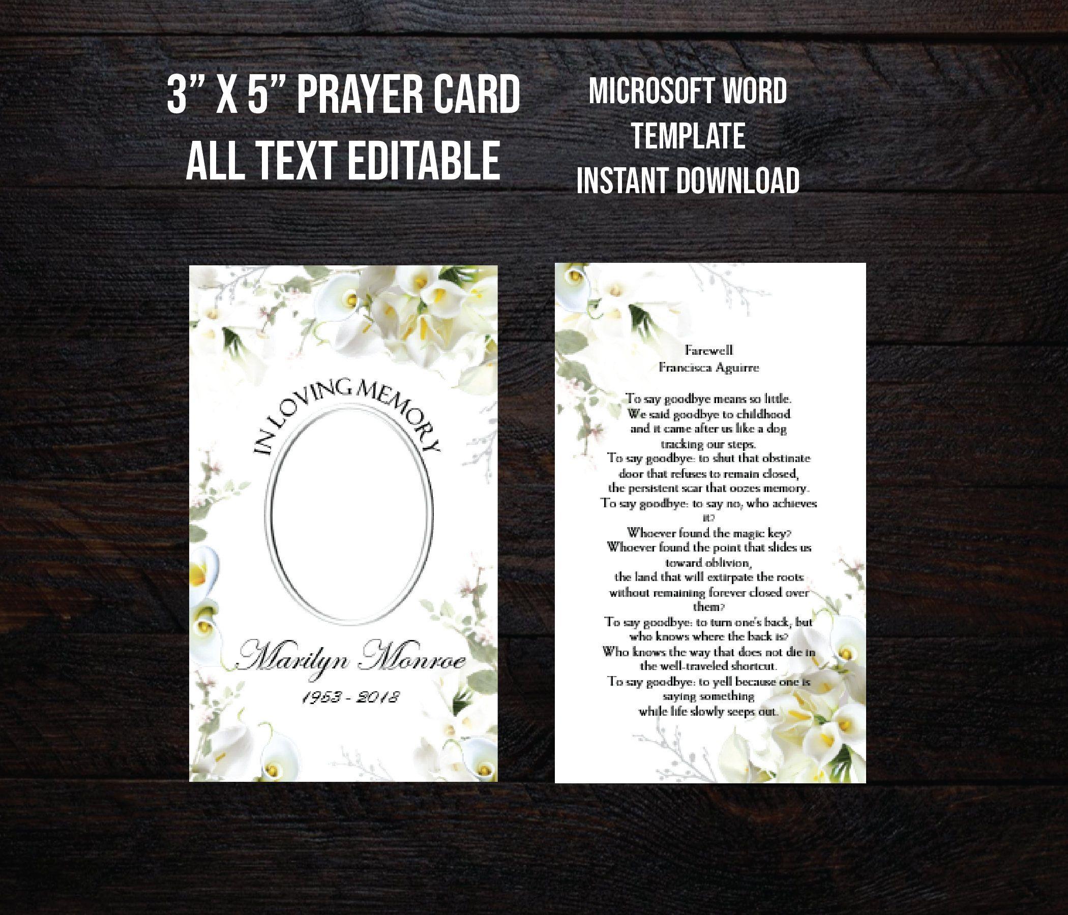 Printable Funeral Prayer Card 3x5 Memorial Prayer Card Etsy Prayer Cards For Funeral Funeral Prayers Prayer Cards Prayer card template for word