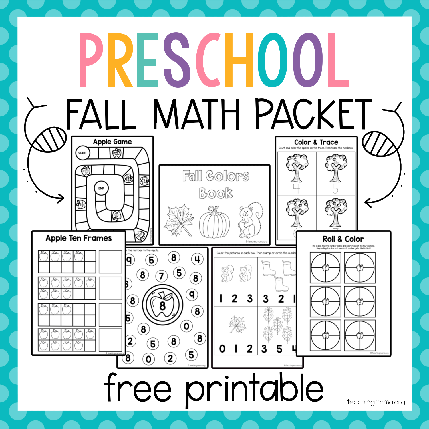 Fall Math Packet For Preschoolers In