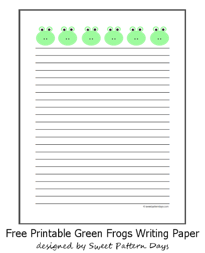 Cute Green Frogs Lined A4 Paper | stationery | Printable