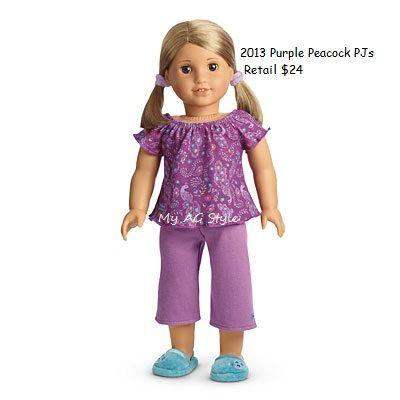 d342d0bc0 American Girl Doll Brand Purple Peacock PJs