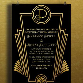 Instant Download Black Gold Art Deco Great Gatsby Vintage