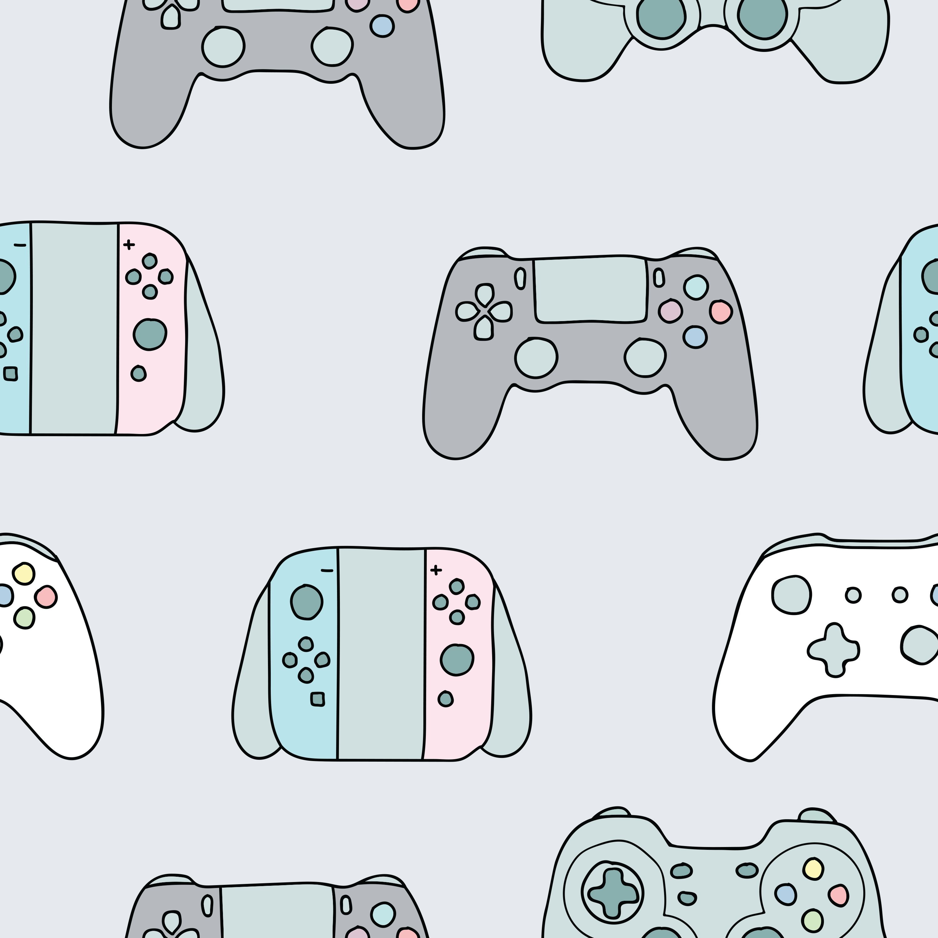 Video game controllers (gamepad) handdrawn seamless