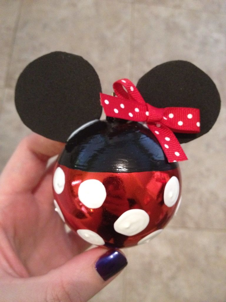 Disney Weihnachtskugeln.Diy Minnie Mouse Disney Ornament Winter Christmas