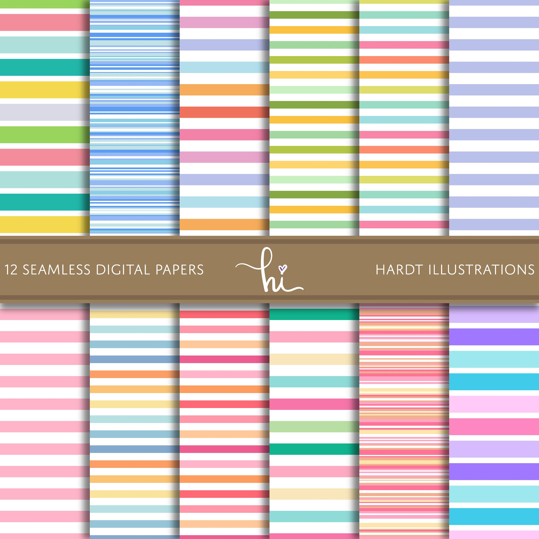 Pastel Stripe Digital Paper, Rainbow Candy Stripes Design