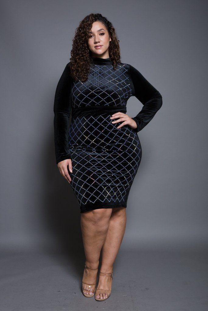 Plus size long sleeve mini dress, featuring a low turtle neck, form ...
