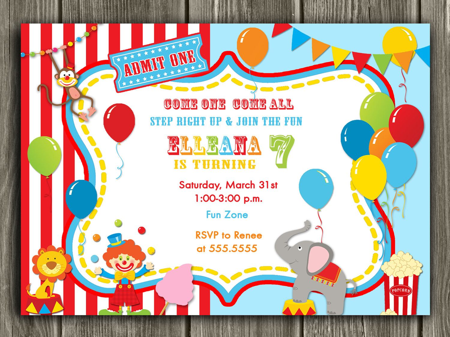 Circus Invitation Free Thank You Card Included 15 00