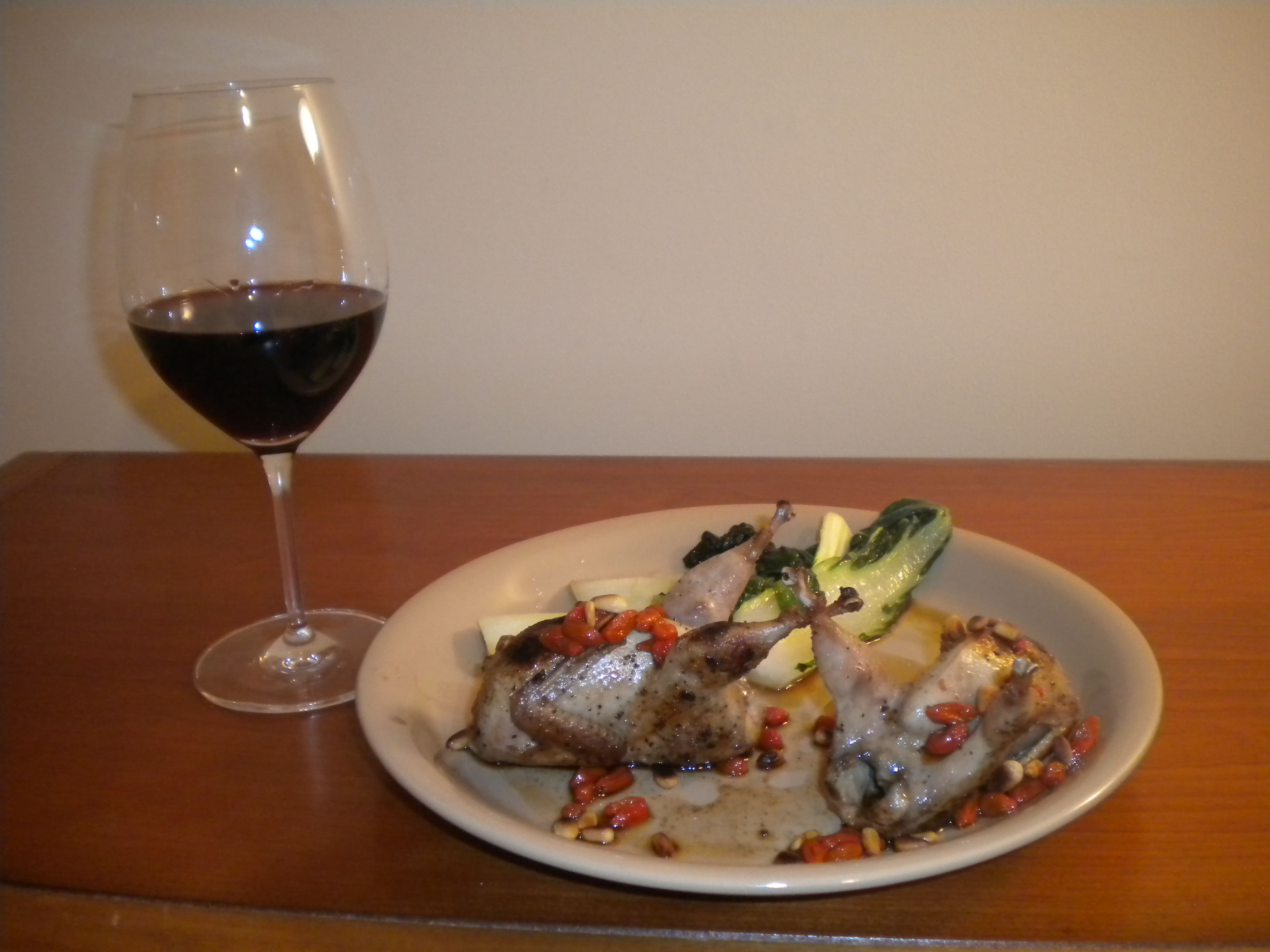 Wine: 2009 Meiomi Pinot Noir   Entree: Grilled Quail with Goji Berries and Pine Nuts and Bok Choy