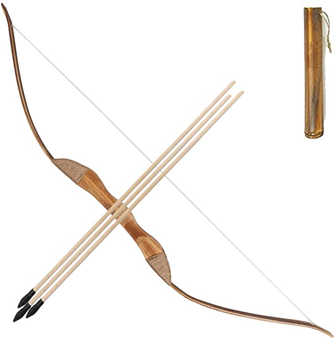 Amazon Com Toparchery Wooden Bow And Arrow Set For Kids Beginners With 3 Arrows 1 Quiver Costume Long Bow Wooden Bow And Arrow Archery Set Bow And Arrow Set