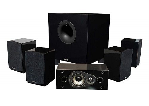 gloss black energy satellite speakers center channel watt subwoofer with front firing port and driver patented ribbed also best home theatre systems you should have at images rh pinterest