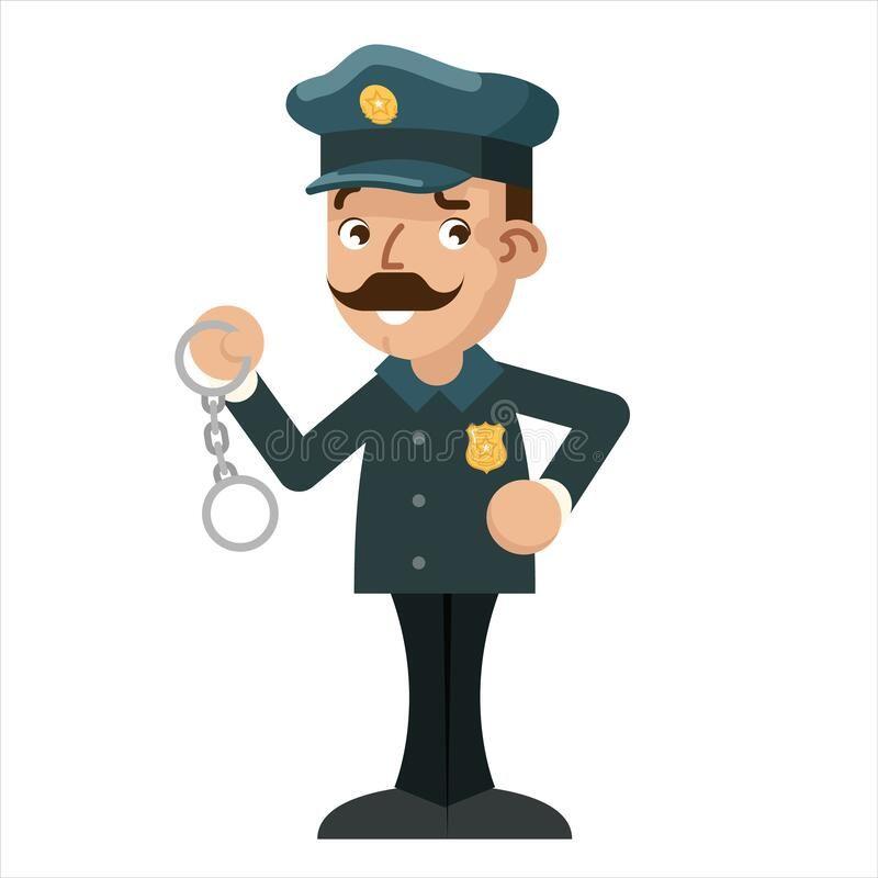Policeman Detective Handcuffs Police Cartoon Flat Design Vector Illustration Policeman Detective Handcuffs Police Fla In 2021 Vector Illustration Illustration Cartoon