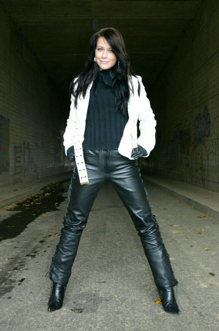 Side Laced Black Leather Pants And White Leather Jacket