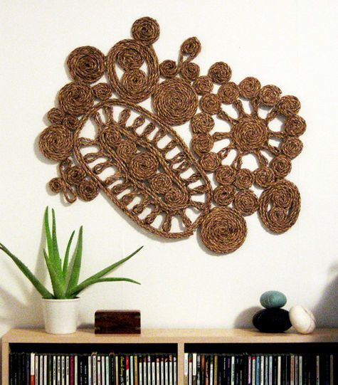 Diy Sisal Rope Wall Hanging Project From Design Sponge Rope Art Rope Decor Rope Projects