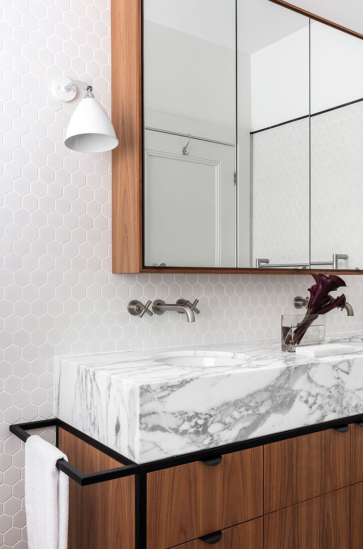Penny tile, marble bathroom sink. Hooper House by Arent&Pyke - IN ...